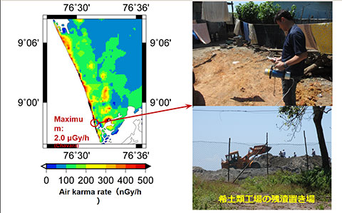 インド・ケララ州における空間放射線率マップ(左)と、調査中の様子。下の写真のように、レアアース工場の残渣積み上げが高放射線をもたらしている。
