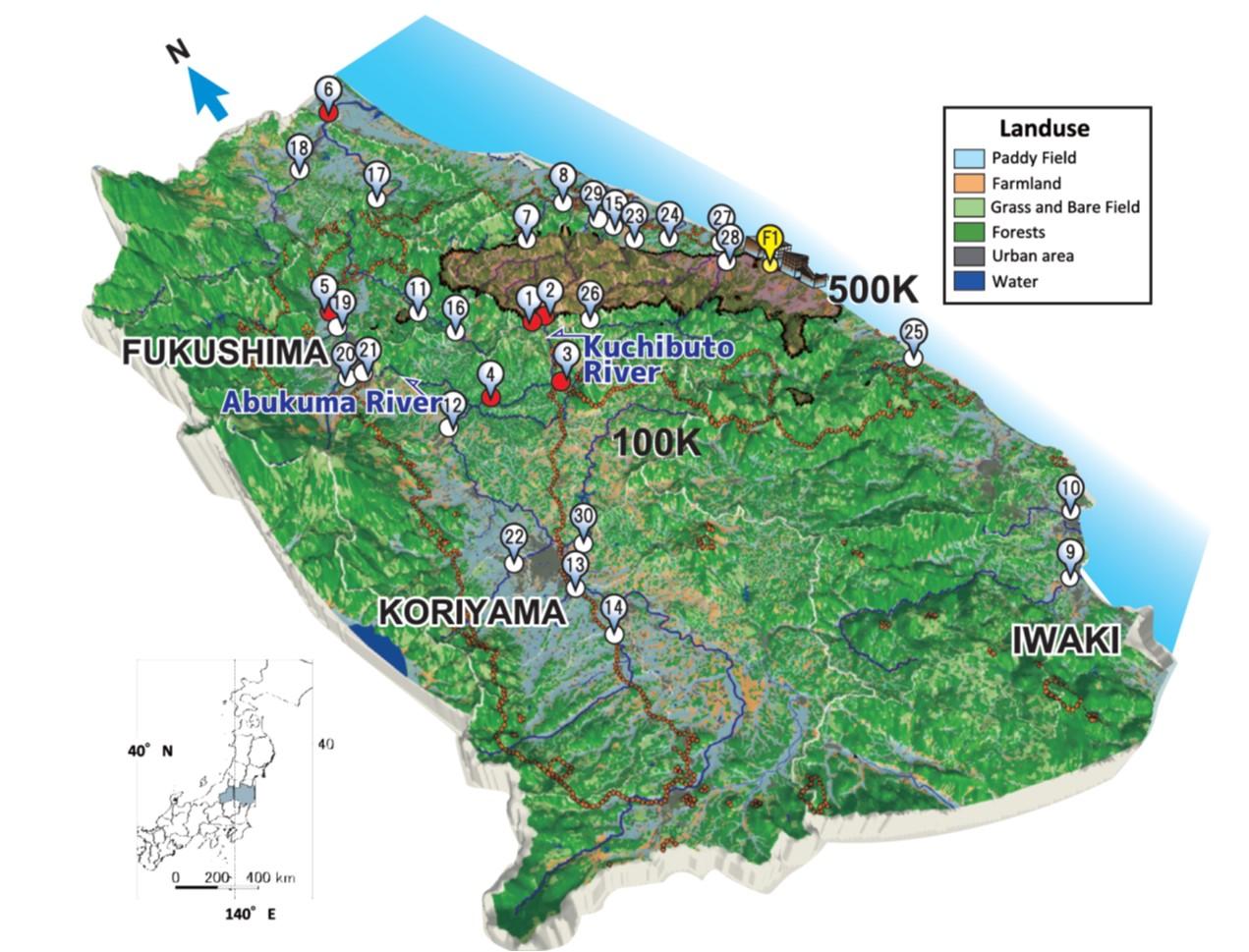福島第一原発から半径80km圏内に設置されたモニタリングステーションの全体図。番号のついたポイントは、河川観測所を示している。2011年6月にまずスタートしたのは、①から⑥までの観測所。最終的には30カ所にモニタステーションが設置された。