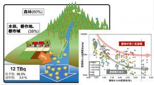 本研究の主要な成果を現した模式図。人間活動のない森林よりも、人間活動のある地域(水田・畑・都市)の方がセシウム濃度の低下速度が速い。また、阿武隈川から海に流出した放射性セシウムの約85%が、面積比で38%程度しかない水田・畑・都市起源であったことも明らかになった。