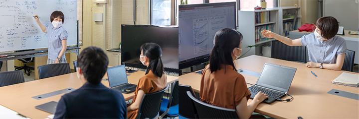 学生たちに優しく語り掛けるように説明する岩田准教授。「プラズマの表面張力」という概念は、研究室のこのテーブル上で議論を重ねるなかで生まれたという。