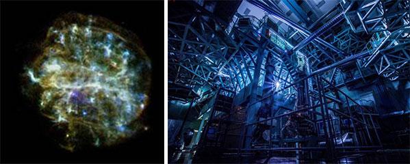 左:宇宙空間に広がり、X線で光り輝くプラズマ(NASA提供)。右:高密度・高温度のプラズマをつくるレーザー装置(大阪大学レーザー科学研究所提供)